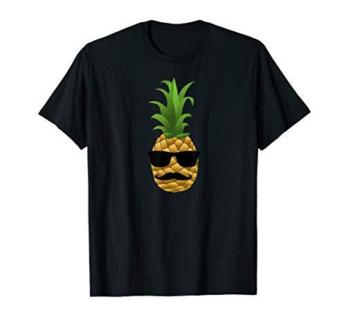 Ananas mit Brille und Schnauzer T-Shirt (Brille Silber)