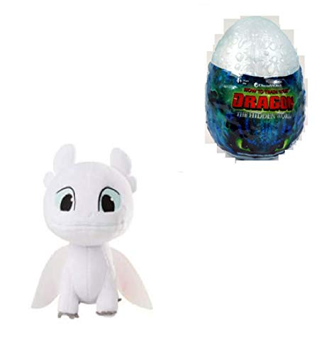 How to Train Your Dragon, Hidden World, Night Light Fury 3-inch Plush, Cute Collectible Plush Dragon in Egg