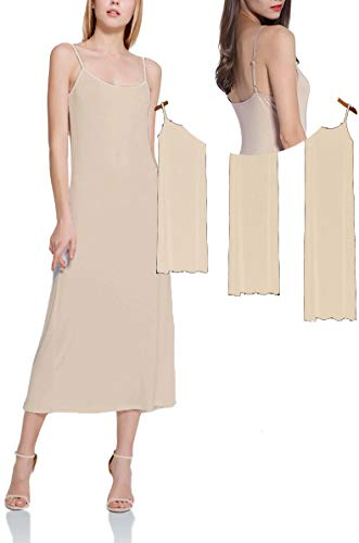 MMissy Women Full Slips Cotton Blend V Neck Straight Dress Nightwear Skin