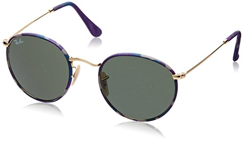 Ray-Ban ROUND METAL (M) - CAMOFLAGE VIOLET/BLUE Frame GREEN Lenses 50mm - Violet Ban Ray