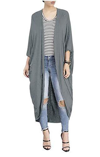 BIRAN Cardigan Femme Printemps Automne Longues Veste en Tricot Elgante Dsinvolte Mode Large Manteau Couleur Unie breal Chauve-Souris Irregular Oversize Outerwear Coat Grey