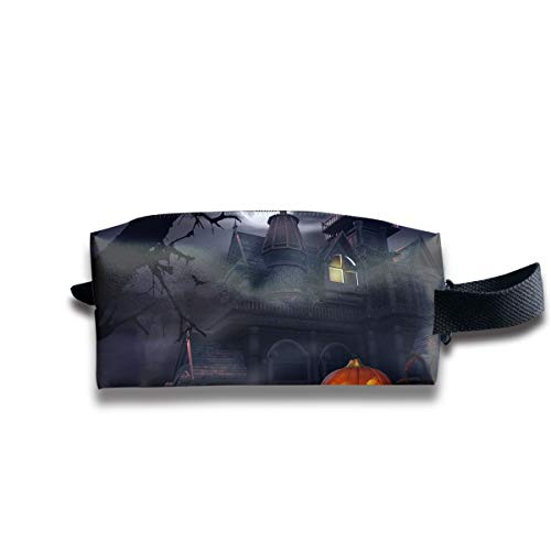 Makeup Cosmetic Bag Halloween Pumpkin Castle Art Zip Travel Portable Storage Pouch for Mens Womens