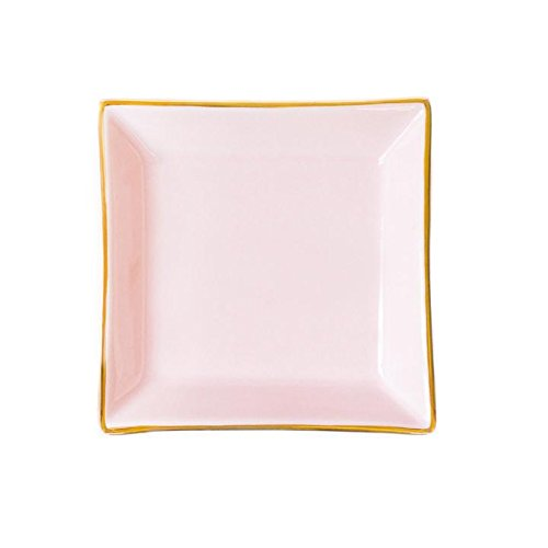 Pink Square Jewelry Dish | Small Ring Holder Ceramic Bridesmaid Tray Wedding Gift for Bride Office Decor by Sweet Water Decor