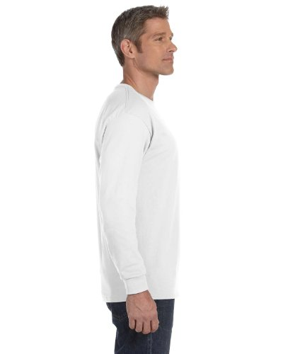 Fruit of the Loom 50/50 Long Sleeve T-Shirt, WHITE, Small