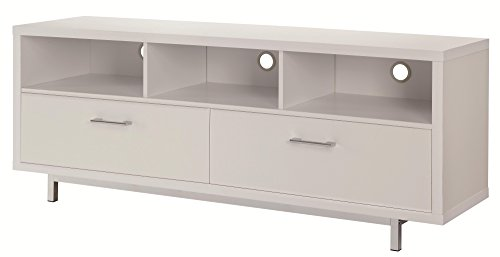Coaster Home Furnishings 2-Drawer TV Console with 3 Storage Compartments White - Set includes: One (1) TV console Materials: MDF, engineered veneer, particle board, hollow board, metal and honeycomb Finish Color: White and chrome - tv-stands, living-room-furniture, living-room - 31dnUigsxKL -