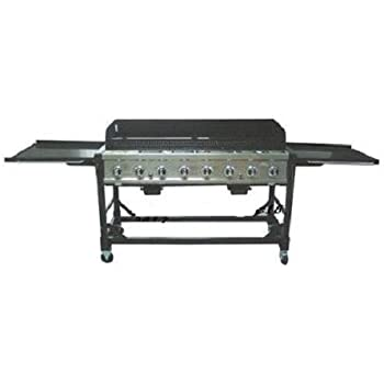 Commercial LP Gas Portable 8-Burner Event BBQ Grill w/ PVC Fitted Cover