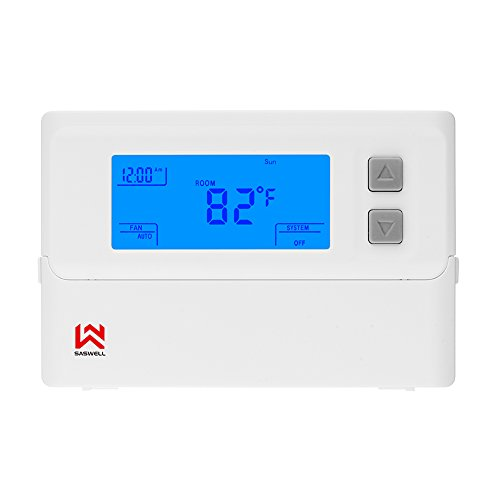 (Non-Programmable Digital Thermostat, Digital Single Stage Thermostat For Room,24 Volt,1H/1C,Heat Pump Thermostat,Saswell T21STK-0)