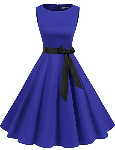 Gardenwed Women's Audrey Hepburn Rockabilly Vintage Dress 1950s Retro Cocktail Swing Party Dress Royal Blue-M