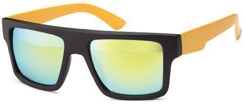 Sense42 Retro Sonnenbrille transparent Rahmen, orange verspiegelte Gläser, mit flexiblen Federscharnier Bügel Nerdbrille Wayfarer-Stil Damen Herren Unisex mit Brillenbeutel