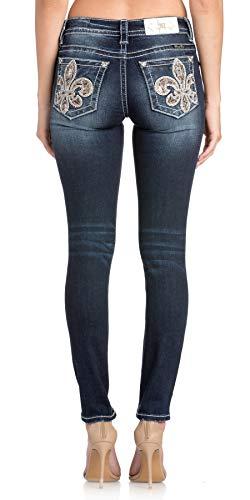 Miss Me Women's Divine Fleur Ankle Skinny Jeans, Dark Blue 32