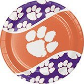 Ncaa Dinner Plates - Pack of 96 NCAA Clemson Tigers Round Tailgate Party Paper Dinner Plates 8.75