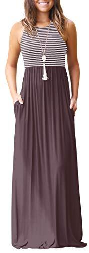 - Green Women Stripe Sleeveless Tunic Vintage Summer Casual Maxi Long Dress Pocket