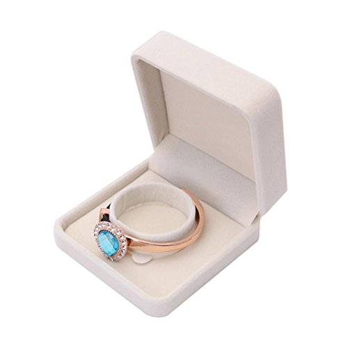 Auwer New Velvet Jewelry Box Presentation Gift Jewellery Rings Earrings Necklace Bracelet Coin Display Storage Holder Tray Box Case for Proposal /Engagement /Wedding (C) (Box Jewelry Lenox Girls For)