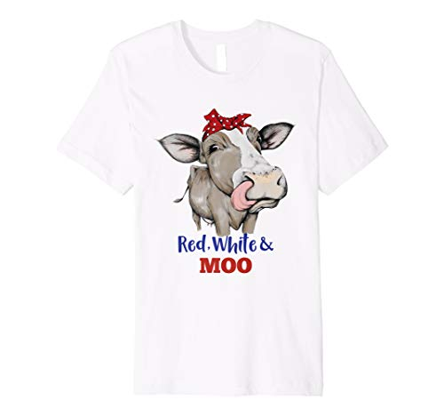 Funny Red White and Moo Cow USA Flag 4th July Patriotic Gift Premium T-Shirt -