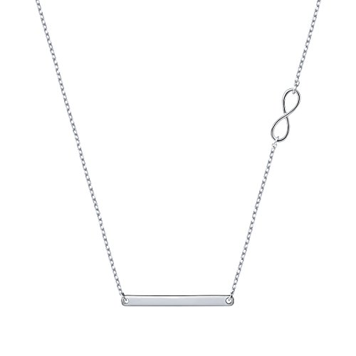 ATHENAA S925 Sterling Silver Infinity Necklace With Sideways Bar