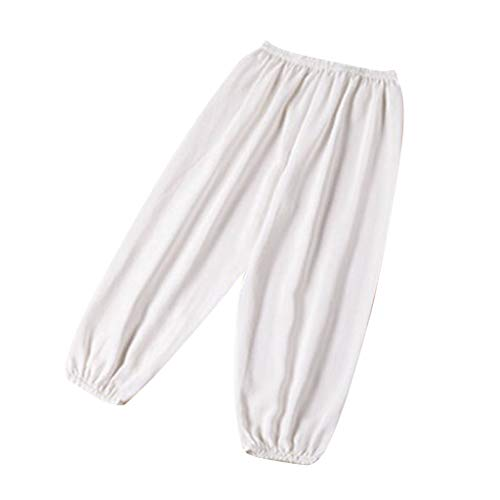 Kids Anti-Mosquito Pants Toddler Girls Boy Summer Casual Harem Pants, Soft Silk Material White