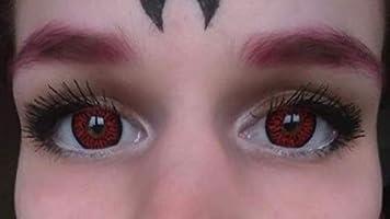 FUNZERA® Lentillas de Colores Red Demon + recipiente para lentes de contacto, sin dioptrías pack de 2 unidades - cómodas y perfectas para Halloween, Carnaval, sin corregir: Amazon.es: Salud y cuidado personal