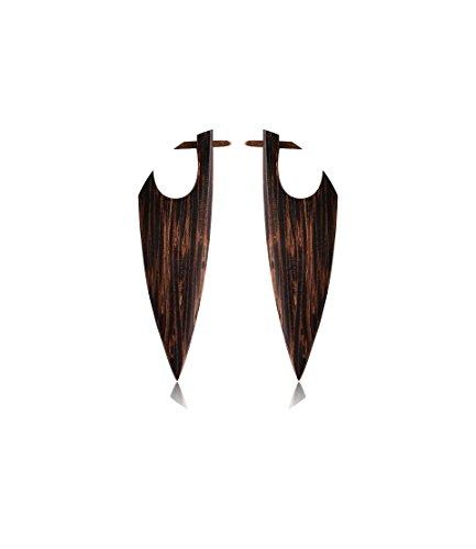Palm Earrings Wood (Bubble Tribal Wood Earrings Palm Color Dangle)