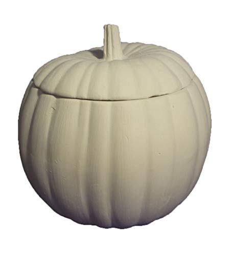 "Pumpkin Jar/Candy Dish 8"" x 5"" (5"" deep) Ceramic Bisque, Ready To Paint, Glazed Inside"