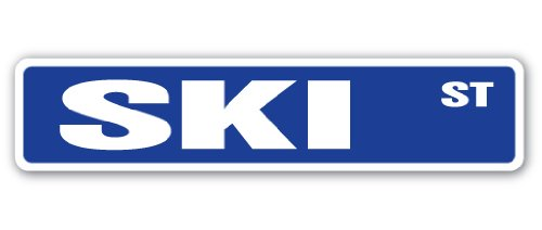 SKI Street Sign snow watersports skis goggle sport gift