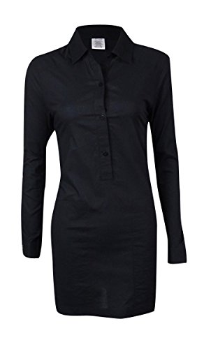 DKNY Women's Roll-Tab Button-Down Shirt Swim Cover (XS, Black) - Dkny Roll