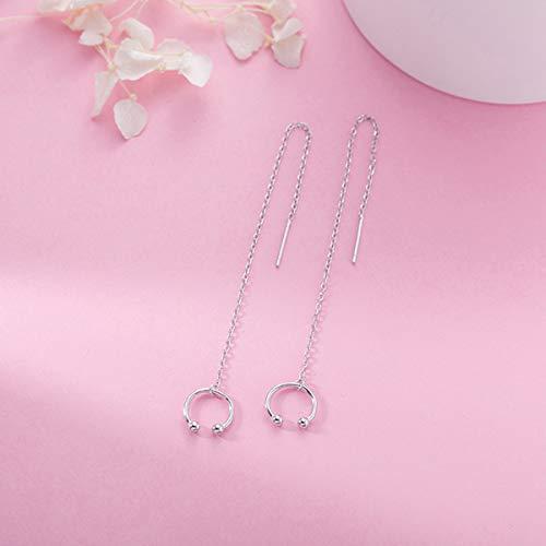 SLUYNZ 925 Sterling Silver Cuff Chain Earrings Wrap Tassel Earrings for Women Crawler Earrings (silver)
