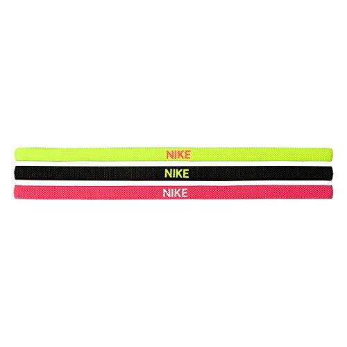 NIKE Elastic Hairbands Cintas para Pelo elasticas, Color Verde Claro/Rosa/Negro, un Solo tamano
