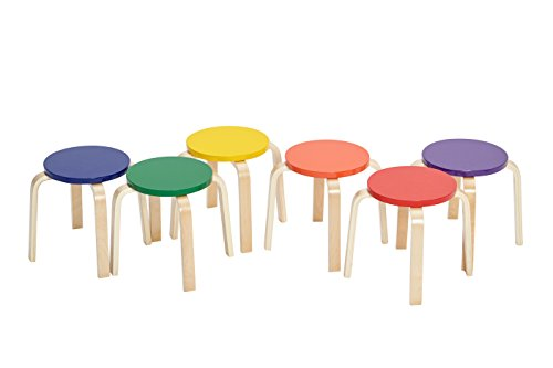 "ECR4Kids Bentwood Stacking Stools for Kids, 12"" H, Assorted (6-Piece Set)"