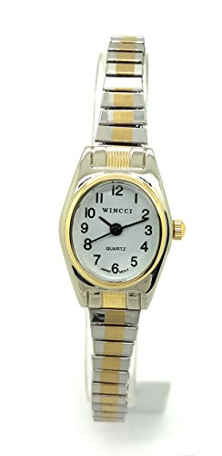 Ladies Classic Small Oval Stretch Elastic Band Fashion Watch Wincci (Two Tone)