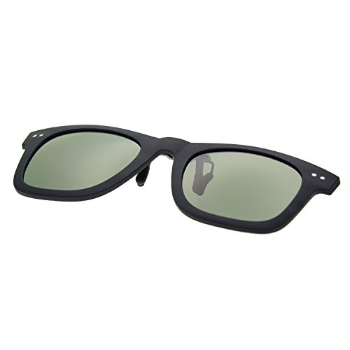 Zacway Matte Rubber Finish Polarized Horn Rimmed Clip-on Sunglasses Color Mirror Lens UV400 50mm (Matte Black/Gray Green, - Wayfarer Clip Sunglasses On