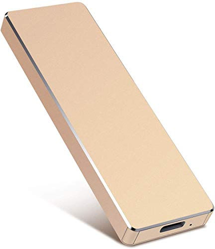 2TB External Hard Drive, Portable Hard Drive External Type-C/USB 2.0 HDD for Mac Laptop PC (2TB, Gold)