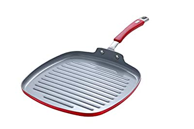 Momscook Aluminum Nonstick Cookware Ceramic Coating Square Grill Pan with Red Silicone Handle, 11-Inch