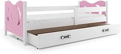 Cama para niños, modelo Nicolò, 160 x 80 cm (rosa), cama con cajonera, para dormitorio de niños y jóvenes, estructura de madera de pino maciza, colchón gratis: Amazon.es: Hogar