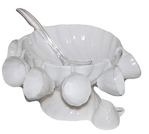 (Vintage HAZEL Ware SWIRL Milk Glass Hostess Service Punch Bowl Set w/Ladle)