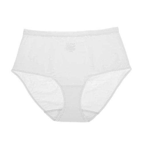 La Isla Women's Cotton Light Control High Waist Plus Size Full Brief Panties White M