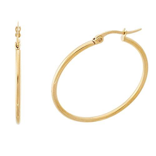 Gold Tone Stainless Steel 30mm Round Hoop (Michele Vintage Earrings)