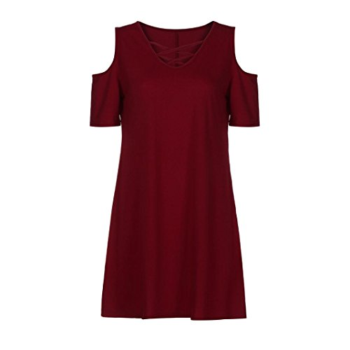 Mode Genous Femmes Cross avec Manche de V Robe de Reaso Bandage Criss T Shirt Robe de Robe Bodycon Soiree A Col Crayon Robe Courte Party paule Rouge Poche Line Plage Chic Robe SqwOwHnd