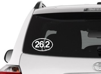 Runner Oval Marathon 26.2 (26.2 - Marathon Decal / White Graphic for Car Window, Laptop, or Tumbler)