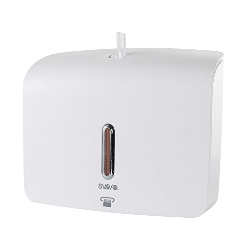 (SVAVO PL-151060 Plaza Series Plastic Wall Mounted Paper Towel Dispenser, White, Pack of 1)