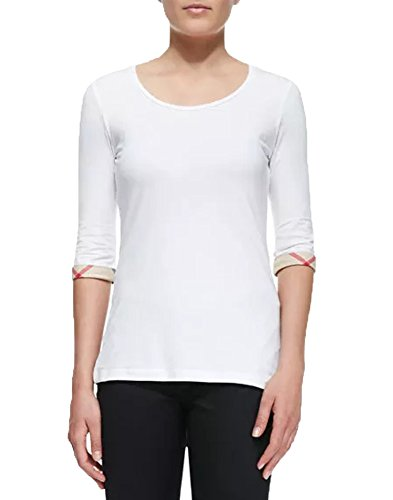 Burberry Brit Women Scoop Neck 3 4 Sleeve Cuff T Shirt Blouse Tee  Large  White