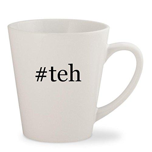 #teh - White Hashtag 12oz Ceramic Latte Mug Cup