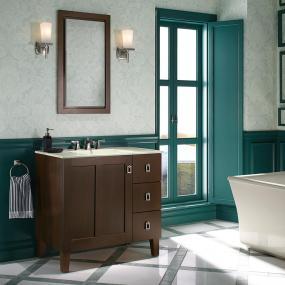 KOHLER K-99530-LGR-1WA Poplin 30-Inch Ready- to-Assemble Vanity in Linen White, Solid Wood from bathroom-vanities, bathroom-fixtures-hardware, bathroom category