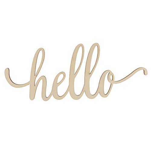 Baoblaze Wooden Hello Letter Unfinished Wooden Hello Sign