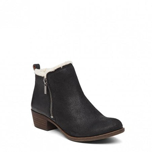Lucky Brand Basel 4 Black Powell Fur Lined Ankle Booties (8.5, Black Powell)