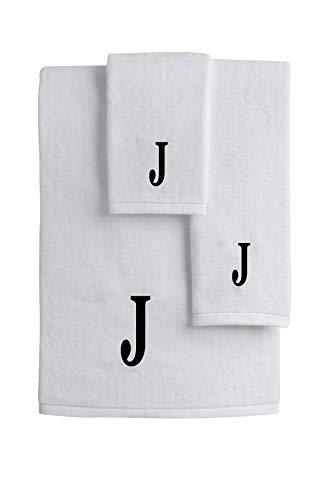 Mandola Home Decor Personalized Monogrammed 3-Piece Towel Set | 100% Cotton | Bath Towel | Hand Towel | Face Towel | Soft and Absorbent Hotel Spa Quality (J)