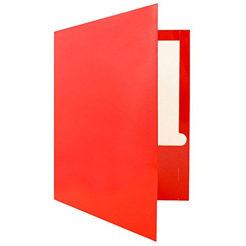 JAM Paper Laminated Glossy 2 Pocket School Folders - Red - 100/pack by JAM Paper (Image #3)