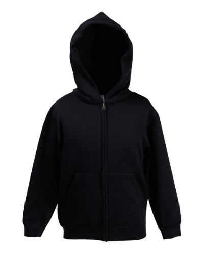 ildrens/Kids Unisex Hooded Sweatshirt Jacket (7-8) (Black) (Fruit Of The Loom Hoodies)