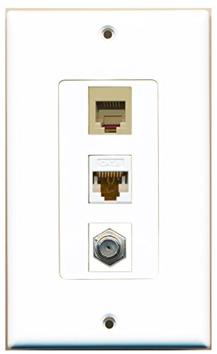 RiteAV - 1 Port Coax Cable TV- F-Type and 1 Port Phone RJ11 RJ12 Beige and 1 Port Cat6 Ethernet White Decorative Wall Plate ()
