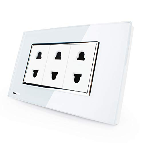 LIVOLO White US 2 Pins Socket, White Crystal Glass, 10A, AC 125~230V, Wall Powerpoints Without Plug, C3C3A-81
