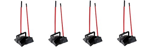 Libman Commercial 919 Lobby Dust Pan and Broom Set (Open Lid), 41'' Length, 12'' Width, Black/Red (Pack of 2) (4-(Pack of 2))